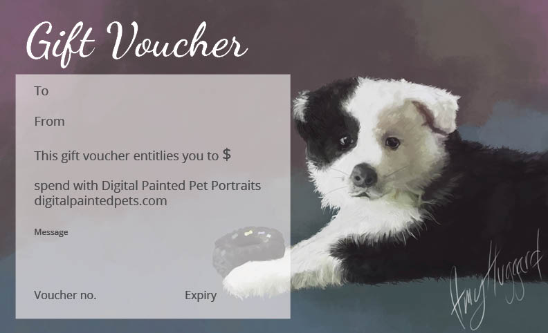 Digital Painted Pet Portraits Australia Gift Vouchers